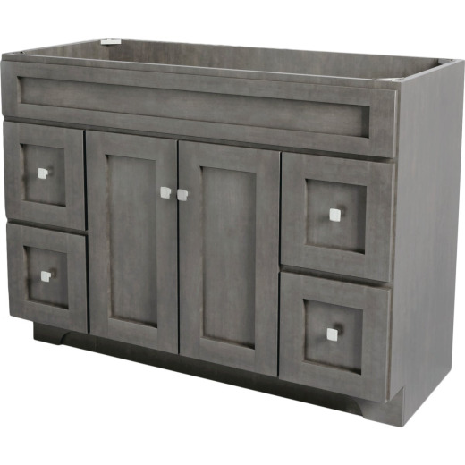 CraftMark St. Paul Designer Gray Stained 48 In. W x 34 In. H x 21 In. D Vanity Base, 2 Door/4 Drawer