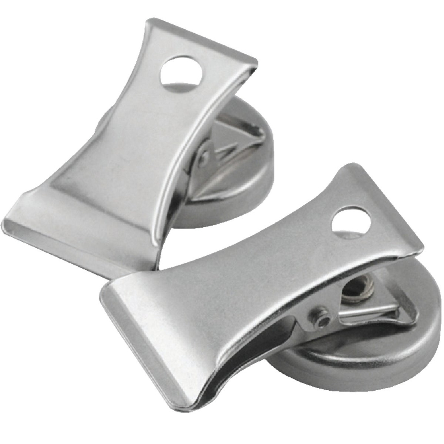 Master Magnetics 1 In. Dia. Chrome Magnetic Note Holder Clip (2-Pack) Image 1