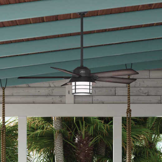 Hunter Key Biscayne 54 In. Weathered Zinc Outdoor Damp Rated Ceiling Fan with Light Kit