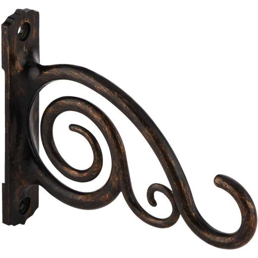 Panacea 6 In. Brushed Bronze Scroll Cast Aluminum Decorative Hanging Plant Bracket
